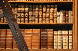 beautiful old leather bound volumes