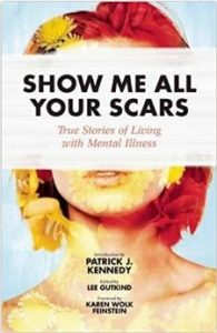 show me all your scars cover, showing a pixellated painting of a woman's face. She has short hair and the title covers her eyes.